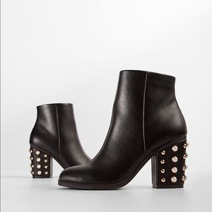 Express Pearl Studded Heel Ankle Boots - 8